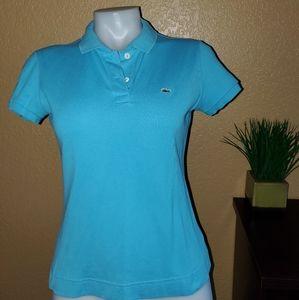 Lacoste Polo Shirt Top sz S light blue
